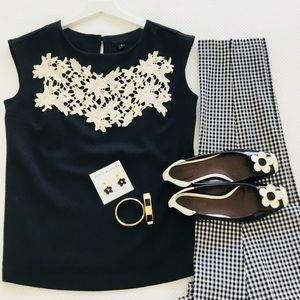 Tops - Black knit top with cream lace feature
